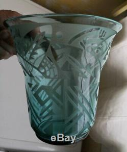 VASE en VERRE Signé DAUM NANCY FRANCE ART DECO / GLASS VASE ART DECO DAUM